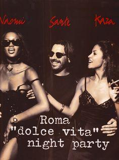 "https://flic.kr/p/JKz2Nu | Vogue Italia ""Roma, Dolce Vita Night Party"" Sett. 1992 (2) | Naomi Campbell, Sante D'Orazio and Kara Young"