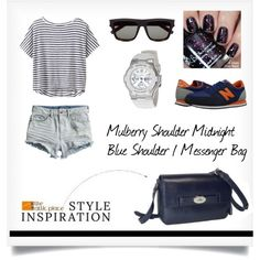 """"""":: STYLE INSPIRATION - Mulberry Shoulder Midnight Blue Shoulder / Messenger Bag ::"""" by the-attic-place on Polyvore"""