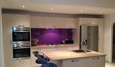 Gorgeous Purple Glass Splashback fitted by Easy Glass Splashbacks