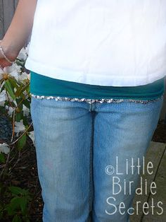 "Spandex belly band-style ""hip"" cover-up for modesty under too-short shirts and low rise jeans. 