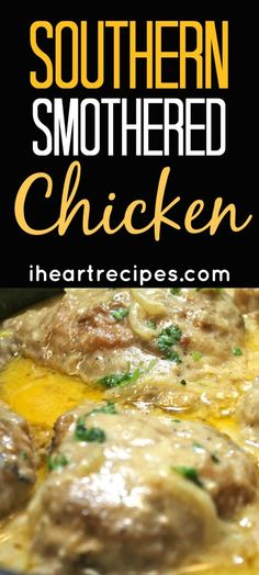 Tender chicken smothered in a creamy homemade onion and garlic gravy Whenever I make Southern Smothered Chicken, it reminds me of my childhood- when I lived in the 'hood. Every Sunday my mom would make a bigger than usual dinner, and it was always very so Southern Smothered Chicken Recipe, Southern Chicken And Rice, Southern Fried Catfish, I Heart Recipes, Recipe Tonight, Southern Recipes, Southern Meals, Favorite Recipes, Stuffed Peppers