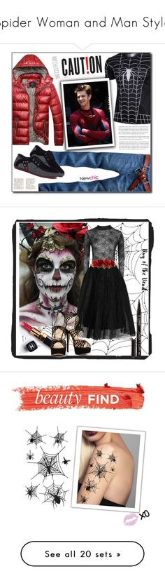 """""""Spider Woman and Man Style"""" by yours-styling-best-friend ❤ liked on Polyvore featuring men's fashion, menswear, art, Dayofthedead, beauty, beautyfind, REGALROSE, Warehouse, Charlotte Olympia and Marc Jacobs"""