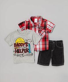 Look at this #zulilyfind! Red 'Daddy's Helper' Shorts Set - Toddler by Little Rebels #zulilyfinds