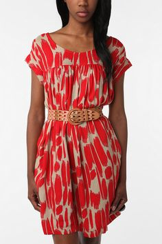crepe dress in red