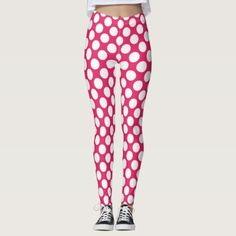 Hot Pink Polka Dot Modern Retro Abstract Pattern Leggings - spring gifts beautiful diy spring time new year