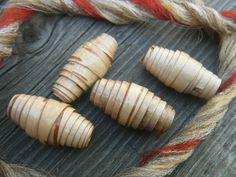 Four light brown wood beads with dark brown and by BirchBarkBeads, $10.00