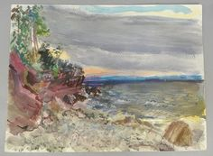 This is a beautiful watercolor painting by the listed American artist Walton Ford Battershall (1918-2006). The painting features a striking waterscape scene with gentle waves rolling into shore. Titled on the reverse asOakledge Shore, which we assume indicates Oakledge Park, in Burlington, Vermont. | eBay!