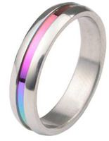 Rainbow Anodized Plain Ring - Gay & Lesbian Pride Stainless Steel Ring w/ CZ Stone    I want this! MUAHlicious...;D@<3