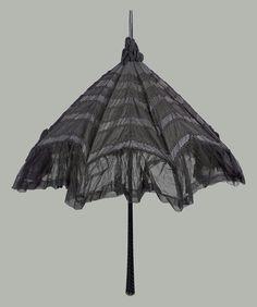 Large parasol of black taffeta American late or early century Brollies, Black Braids, Quatrefoil, Museum Of Fine Arts, Vintage Accessories, Chiffon, Victorian, Silk
