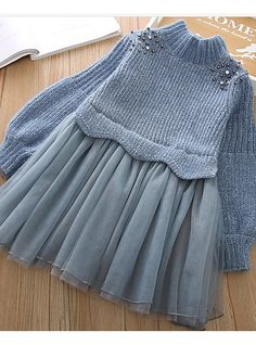 Kids Girls' Basic Solid Colored Long Sleeve Dress Blue 2019 - US $28.92 Girls Party Wear, Baby Girl Party Dresses, Dresses Kids Girl, Party Wear Dresses, Baby Dress, Blue Dresses, Baby Girl Fashion, Fashion Kids, Fashion Outfits