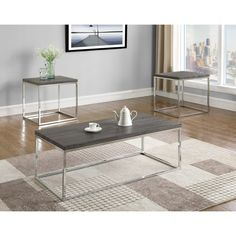 The Britt occasional table set brings straightforward contemporary style to your home. The grey table tops are paired with metal bases for a sleek look. Small End Tables, Coffee And End Tables, End Table Sets, Toddler Table, Grey Table, Home Upgrades, Discount Furniture, Home Decor Items, Home Living Room