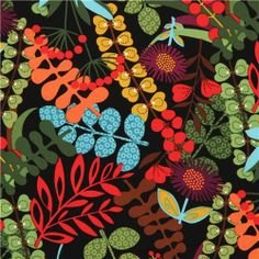 black Timeless Treasures fabric with wild flowers USA 1 Flora Flowers, Fabric Flowers, Wild Flowers, Textures Patterns, Fabric Patterns, Print Patterns, Timeless Treasures Fabric, Modes4u, Tropical