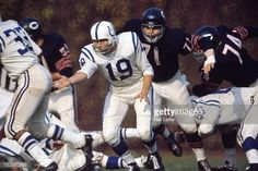 Johnny Unitas (Colts at Bears). Nfl Colts, Nfl Football Teams, Johnny Unitas, Baltimore Colts, Here's Johnny, American Football Players, Bear Photos, Wrigley Field, Vintage Football