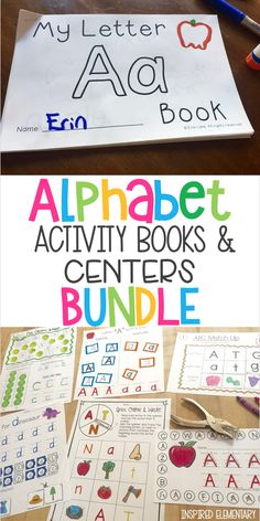 Alphabet activity centers - Teach Letter of the Week with these FUN and interactive A-Z Alphabet Activity Books and hands-on, fine motor skills alphabet centers. Teaching The Alphabet, Teaching Phonics, Elementary Teaching, Kindergarten Classroom, Kindergarten Activities, Teaching Resources, Teaching Ideas, Preschool, Sight Word Activities