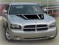 Hockey Stick Hood Decal on Silver Dodge Charger