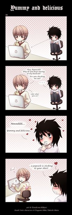 """Tags: Anime, DEATH NOTE, L Lawliet, MADHOUSE, Yagami Raito  First I was like """"what? Eww"""" an then I was like """"HAHAHAHAH"""""""