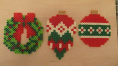 Perler, Hama fuse bead ornaments: Here are three tree ornaments I came up with using cross stitch patterns.