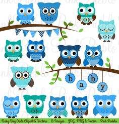 Baby Shower Boy Owl Clipart Clip Art, Boy Baby Shower Owl Bird Clipart Clip Art Vectors - Commercial and Personal by PinkPueblo on Etsy https://www.etsy.com/listing/172878767/baby-shower-boy-owl-clipart-clip-art-boy