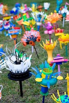 recycled art flowers