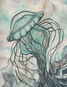 Green JELLYFISH 85 x 11 print of detailed by DeepColouredWater, $40.00