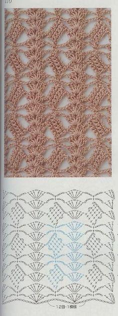 Crochet lace ground stitch with diagram ~~ oblique blocks and shell columns ~~ from Crochet patterns book 300 Crochet Diagram, Crochet Chart, Crochet Motif, Crochet Stitches Patterns, Stitch Patterns, Knitting Patterns, Crochet Diy, Love Crochet, Confection Au Crochet