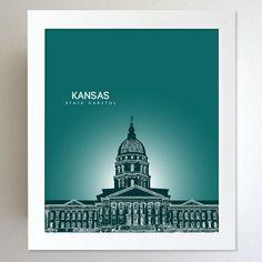 kansas Skyline State Capitol Landmark - Modern Gift Decor Art Poster 8x10. $20.00, via Etsy.