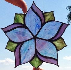 Flower Stained Glass Sun Catcher in Blues $25.00