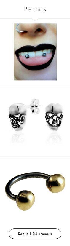 """Piercings"" by frnkishot ❤ liked on Polyvore featuring jewelry, earrings, piercings, butterfly jewelry, sterling silver jewellery, gothic earrings, gothic jewelry, sterling silver skull earrings, rings and black"