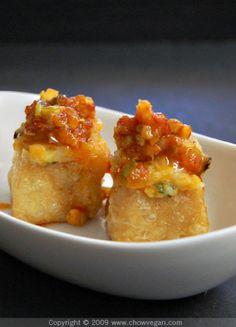 Wish I weren't allergic to tofu 'cause these sound delish: vegan stuffed tofu puffs with chili garlic sauce. Tofu Recipes, Vegetarian Recipes, Cooking Recipes, Yummy Recipes, Healthy Recipes, Tofu Dishes, Vegan Main Dishes, Vegan Foods, Vegetarian