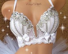 Custom RaveWear, Rave Outfits and Fluffies by VinylDolls - Trend Lingerie Party 2019 Wedding Bra, Bridal Lingerie, Women Lingerie, Bling Bra, Rhinestone Bra, Edm Outfits, Fashion Outfits, Womens Fashion, Rave Corset