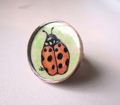 Ladybug Ring  Watercolor Art Ring Original Hand by jojolarue, $23.00