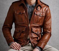 Leather Jacket: 20 Ideas to Wear in a Men& Look - Moda Masculina - Men's Leather Jacket, Leather Men, Brown Leather, Leather Jackets, Vintage Leather, Pink Leather, Real Leather, Danny Schwarz, Stylish Men