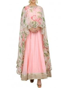 Floral cape with anarkali - Anushree Reddy - Designers Indian Gowns, Indian Attire, Pakistani Dresses, Indian Wear, Indian Outfits, Anarkali Dress, Anarkali Suits, Cape Dress, Indian Designer Wear