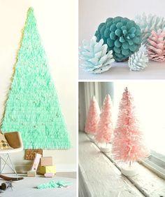Adornos navideños en tonos pastel