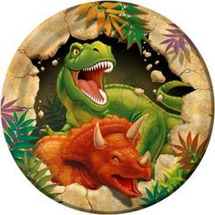 One hungry-looking T-Rex looks ready to chomp down on your cake, better serve it up fast on these Dinosaur Blast Dessert Plates! These sturdy paper plates measure about per pack) Dinosaur Party Supplies, Dinosaur Birthday Party, Party Plates, Cake Plates, Dessert Plates, Party Tableware, Dinner Plates, Festa Jurassic Park, Party Set