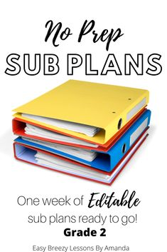 Second Grade Sub Tub Ultimate Bundle! (No Prep 1 Week Substitute Plans) Third Grade Math, Fourth Grade, Second Grade, Science Lessons, Printable Worksheets, Teaching Tips, Classroom Management, Awesome, Amazing