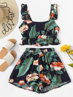 Ruffle Hem Floral Print Top With Shorts - Women & Men Fashion Stylish Outfits Trendy Clothing Buy Online Cute Comfy Outfits, Cute Girl Outfits, Cute Summer Outfits, Pretty Outfits, Stylish Outfits, Girls Fashion Clothes, Teen Fashion Outfits, Cute Fashion, Men Fashion