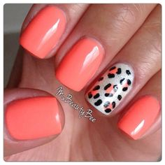 Neon Coral Leopard Nails. Colors used: Gelish - I'm Brighter Than ...