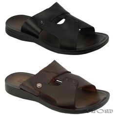 a44757be091cd9 Mens Real Leather Brown Black Slide Sandals Summer Holiday Beach Flip Flop  Mules