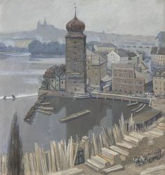 Viktor Stretti - Pohled z ateliéru (1905)