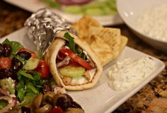 Chicken Gyro Recipe {Yes you can cook Greek recipes in the slow cooker} | Also, we used Gardein for my husband!
