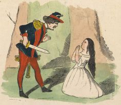 An illustration from page 7 of Mjallhvít (Snow White) from an 1852 icelandic translation of the Grimm-version fairytale.