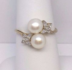 10K YELLOW GOLD 6.4 MM PEARL DIAMOND BUTTERFLY RING SIZE 7.5