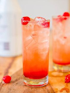 11 Tiki Drinks That Will Immediately Transport You to a Tropical Island (In Your Mind) | MALIBU SUNSET | What's a tacky tiki cocktail without a generous garnish of maraschino cherries? Answer: nothing. These pink drinks are sweet, fruity and best enjoyed when you're questioning why you even bother living so far from the beach.
