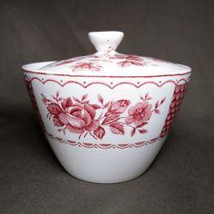 $7.00 Vintage Cottage Transferware Sugar Bowl & Lid Alfred Meakin Staffordshire Melody