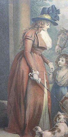 Woman in redingote: Detail of stipple engaving by Benjamin Duterreau after George Morland, The Squire's Door, published by J.R. Smith, 1790
