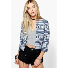 Boohoo Leah Crop Jacquard Jacket ($28) ❤ liked on Polyvore featuring outerwear, jackets, blue, duster coat, blue puffer jacket, cropped jacket, bomber puffer jacket and puff jacket