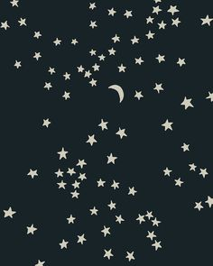 moon and stars pattern -- soft contrast, hand-drawn shapes, clever composition, varying dispersion of shapes