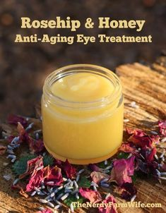 This Rosehip & Honey Anti-Aging Eye Treatment is perfect for dabbing around your eyes, on laugh lines, or other wrinkle prone spots. I actually use it as a full face, neck, and hand cream, but since it tends to start out feeling slightly sticky on the skin – you'll probably only want to apply it at night. When you wake up in the morning, it will have left your skin soft, smooth, and silky! It #antiagingcreams