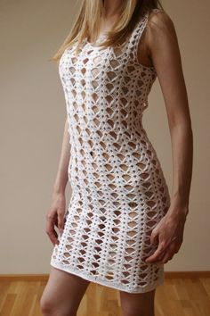 """sexy """"I designed and constructed this ELEGANT CROCHET LACE DRESS. I used lace crochet technique. the dress is very soft and stretchy. This unique dress"""", Crochet Lace Dress, Knit Dress, Knit Crochet, Dress Lace, Lace Weddings, Wedding Lace, Dress Wedding, Crochet Wedding, Crochet Woman"""